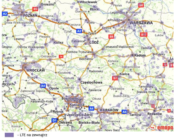 Plus Mapa zasięgu