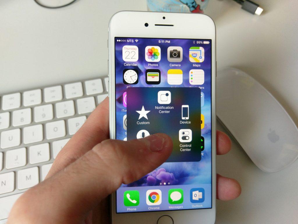 Przycisk Assistive touch na ekranie smartfona