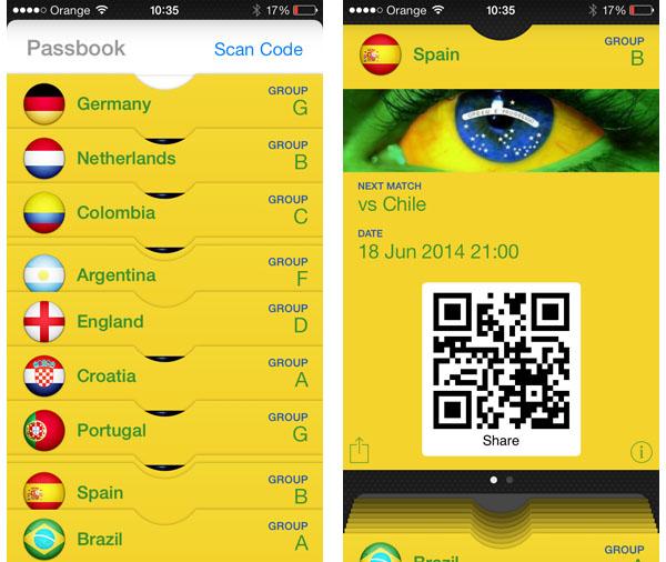 Mistrzostwa Świata Brazylia 2014: iPhone i Passbook