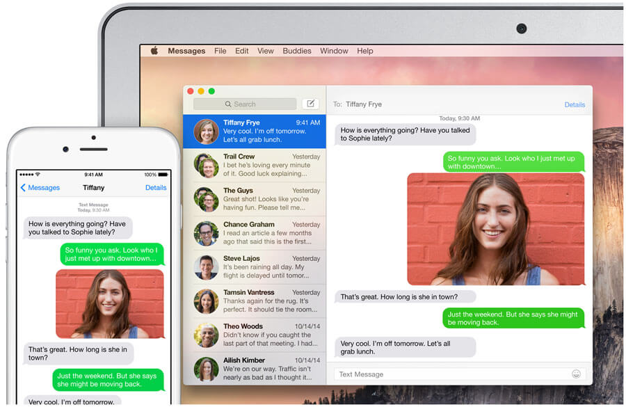 SMS MMS na iPad z iOS 8.1 Mac z Yosemite