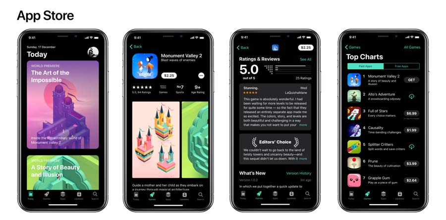App Store z interfejsem dark store
