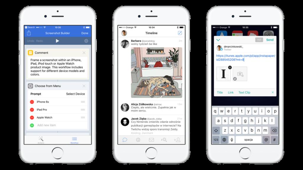 Aplikacje na iOS - Workflow, Tweetbot, Linky