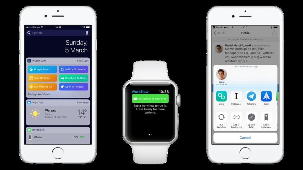 Rozszerzenia - Widżety, Apple Watch, Menu udostępniania