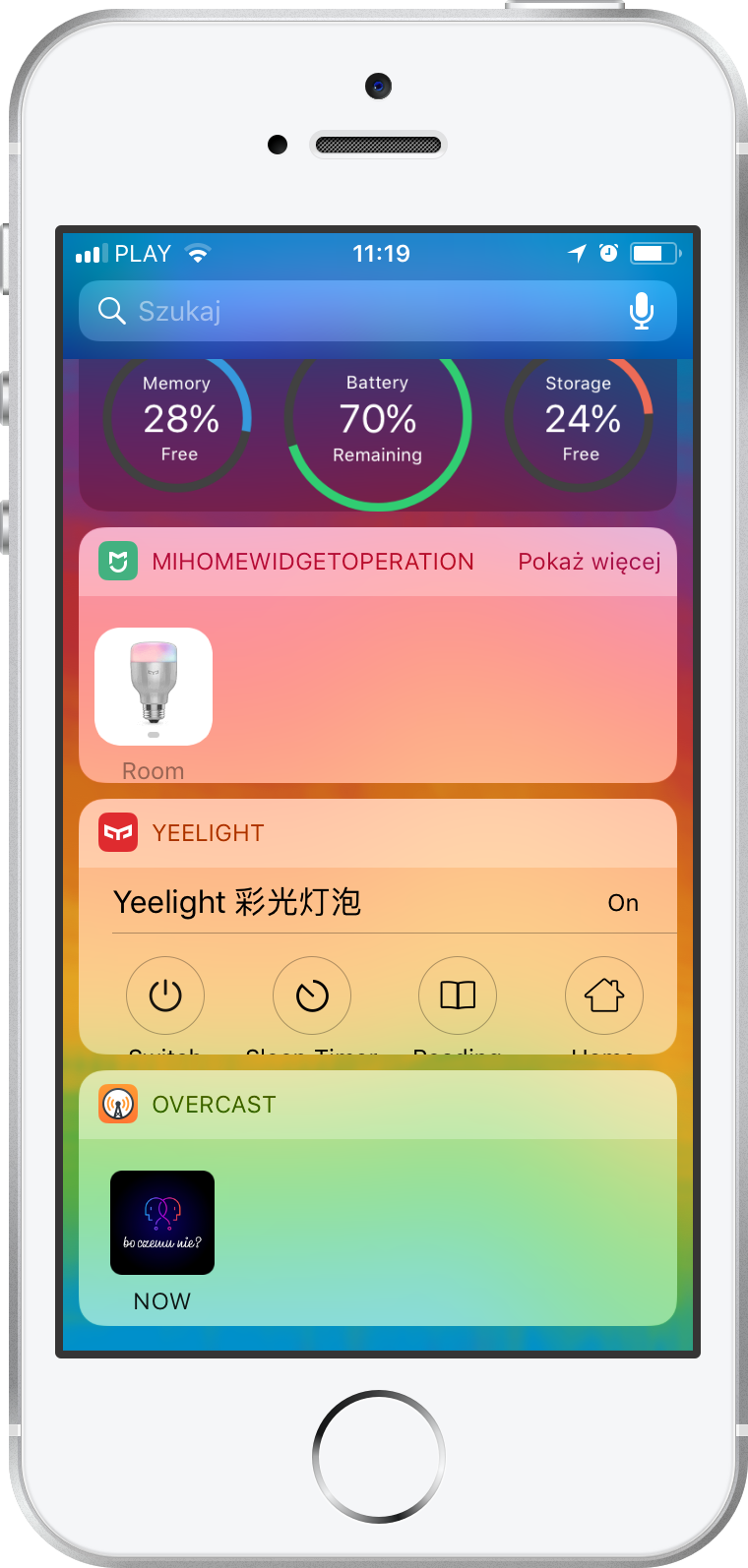 Widget yeelight oraz mi home